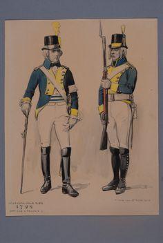 Officer and soldier at Västgöta-dals regiment of foot 1798 by Einar von Strokirch
