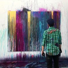 Gorgeous painting on and off the canvas by @theaxelrod #painting #abstractart #drip #instalike #instacool #love #artist #colourpop #color #inspiration