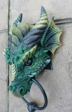 A large solid and weighty Dragon head knocker to add that bit of individuality to your front door! Tip of horn to bottom of ring is This would make an ideal gift for the lover of Dragons and all things Mystical. Clay Dragon, Dragon Head, Dragon House, Fantasy Creatures, Mythical Creatures, Arte Ninja, Door Knobs And Knockers, Dragon's Lair, Dragon Artwork