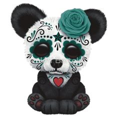 Jeff Bartels - Teal Blue Day of the Dead Sugar Skull Panda Sugar Skull Tattoos, Sugar Skull Art, Sugar Skulls, Panda Art, Cute Panda, Cute Designs, Teal Blue, Animal Drawings, Cute Wallpapers