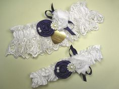 White Lace Wedding Garter Set with Purple Handmade Roses, Pearls, Rhinestones and Personalized Engraving
