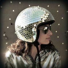 Helmet for Burning Man. Instructions: http://www.instructables.com/id/Disco-Ball-Helmet/?ALLSTEPS