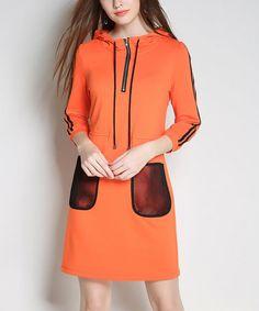 Love this Orange & Black Hooded Shift Dress on #zulily! #zulilyfinds
