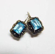 Blue Topaz Earrings Marcasite Sterling Pierced Emerald Cut
