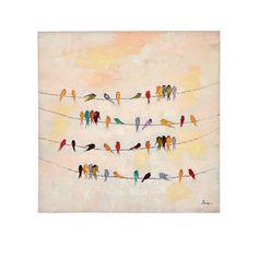 Bild Gezwitscher, handgemalt ca. 100 x 100 cm Vorderansicht