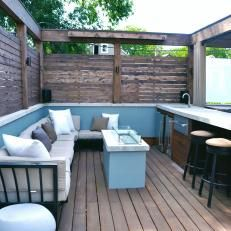 Contemporary Deck With Bar, Built-In Seating and Outdoor Fireplace