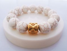 White Howlite and Gold Vermeil Serenity Bracelet by KartiniStudio