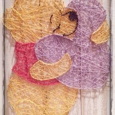 Winnie the Pooh Bear - string art Disney String Art, Nail String Art, String Crafts, 5 Min Crafts, Arts And Crafts, Winne The Pooh, String Art Patterns, Winnie, Pin Art