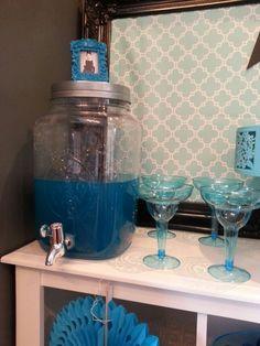 mason jar punch with tiffany blue glasses