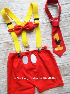 Mickey Mouse Birthday cake smash outfit shorts by GinaBellas1