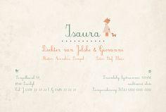 Geboortekaartje Isaura - achterkant - Pimpelpluis - https://www.facebook.com/pages/Pimpelpluis/188675421305550?ref=hl (# meisje - vosje - hondje - pastel - lief - origineel)