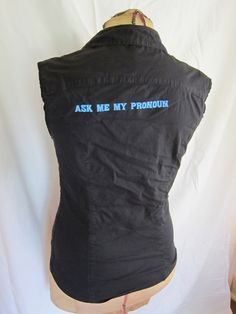 """Ask Me My Pronoun"" Gender Shirt Queer. $20.00, via Etsy."