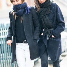 Morgane Bedel, Geraldine Saglio. Belted coat. Street Style #PFW #FW14 Photo: Adam Katz Sinding / Le-21eme