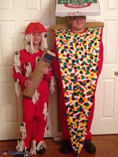 Spaghetti & meatball costume - two heavy duty mop heads & spray painted cotton balls attached to a red sweat suit. The hat is a colander. The pizza costume was created out of felt. Each topping cut by hand and hot glued onto the costume. Wood dowel wrapped in batting for the top crust, and a pizza box with a baseball cap inside as the hat