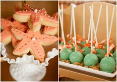 Mermaid Themed Baby Shower/Birthday Party: Coral & Turquoise Mermaid Party Cake Pops & Starfish Cookies