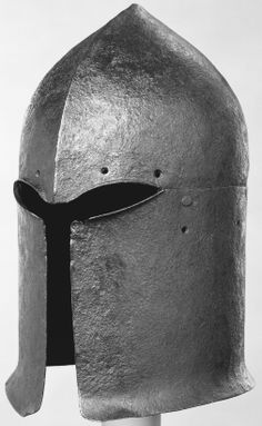 Great Sallet, possibly 1420–50, Italian. Apparently the forerunner of the one-piece barbute that appeared in Italy about 1440, these distinctive two-piece sallets are known only from Chalcis and other Aegean sites. Dimensions: H., 13 5/8 in. (34.6 cm); Wt., 8 lb. 12 oz. (3971 g), Met Museum.