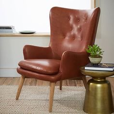 Niels Leather Wing Chair #westelm