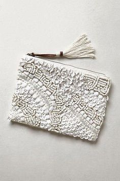 beaded white clutch with white beads