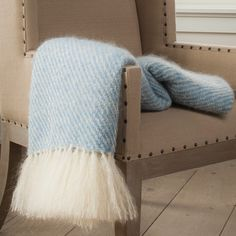 Sky Blue Handwoven Mohair Throw. An elegant keepsake, an authentic piece of Nantucket and a wonderful gift to commemorate life's special occasions.