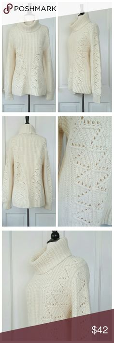Banana Republic Chunky Cream Turtleneck Sweater Banana Republic cream turtleneck long sleeve sweater with open weave pattern on front, back, and sleeves. Wool/alpaca blend. NWT. Banana Republic Sweaters
