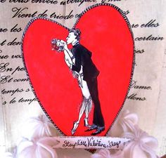 vintage style valentines paper cake topper