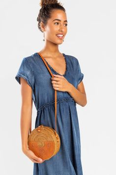 Lee Round Leather Rattan Crossbody