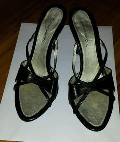 SOLD!!!!!!!  COSTUME NATIONAL BLACK Leather Open Toe Strappy Heel Sandals MULES Sz 39 1/2 s9 #CoSTUMENATIONAL #Mules