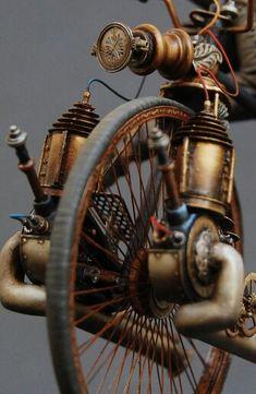 Miniature Steampunk / Dieselpunk highwheel bike sculpture - Jules Verne by Michael Kontraros Design Steampunk, Steampunk Kunst, Style Steampunk, Victorian Steampunk, Steampunk Diy, Steampunk Fashion, Steampunk Necklace, Steampunk Clothing, Gothic Fashion