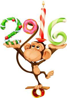 Happy New Year ~ Jillian Happy New Year 2016, Merry Christmas And Happy New Year, Little Christmas, Christmas Holidays, Cartoon Monkey, Monkey Art, Clipart Noel, New Year Calendar, New Year Pictures