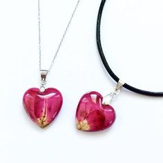 Real Rose Necklace - Handmade with real dried rose petals and eco resin. Natural jewellery, eco resin jewellery :) These necklaces are showcasing real roses. The flower was dried and then embedded into the clear resin, that will preserve its beauty for a long time. Great romantic present