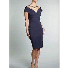 Buy Gina Bacconi Lightweight Ponti Dress With Beaded Mesh Neckline, Slate Online at johnlewis.com