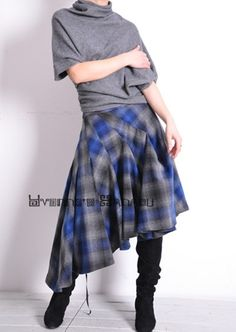 Blue Grey Pure Virgin Wool Asymmetric Tartan Plaid Ruffle Full Pleated Skirt Free Shipping International. $146.70, via Etsy.