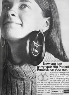 For every girl with an ear for music. Grooviest Earrings Ever, 1968