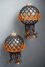 Free Beaded Christmas Ornament Patterns including trick or treat peyote stitch amulet/pin, Halloween Ball Ornament and Beaded Spider Tutorial, along with videos on Bead Pattern for Halloween Event with Spider of Black Widow, Little Pumpkin Earrings and Jazzy Beads Halloween Jewelry.