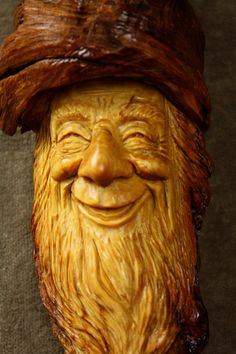 Wood Carving Wood Spirit Oak Birthday Gift -- love this happy face! (By TreeWizWoodCarvings, $92.00)