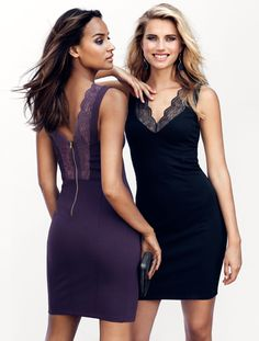 Fitted dresses in black and plum with lace trim & V-neck at front and back. | Party in H&M