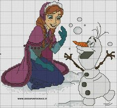 Anna & Olaf cross stitch pattern