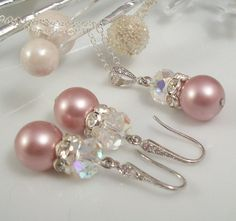 Pink Bridesmaids Pearl Necklace and Earring Set with Swarovski Crystal Rondelle and Rhinestones, Silver or Gold, Custom Colors