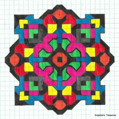 Graph Paper art made by myself , Angelika's Treasures Doodle Patterns, Zentangle Patterns, Quilt Patterns, Graph Paper Drawings, Graph Paper Art, Zen Wallpaper, Snowflake Stencil, Grafic Art, Rangoli Designs Images