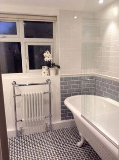 Stunning 40 Fabulous Grey And Blue Bathroom Design Ideas. Blue Bathrooms Designs, Bathroom Tile Designs, Grey Bathrooms, Bathroom Design Small, Beautiful Bathrooms, White Bathroom, Bathroom Interior Design, Bathroom Ideas, Bathroom Suites Uk