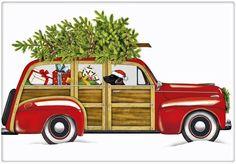 Red Woodie Christmas Wagon Cotton Flour Sack Dish Tea Towel - Mary Lake Thompson x Vintage Christmas Cards, Retro Christmas, Christmas Art, All Things Christmas, Christmas Ornaments, Christmas Scenes, Christmas Ideas, Xmas, Christmas Patterns