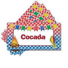 Plaquinha para Mesa Junina Cocada - 05 unidades