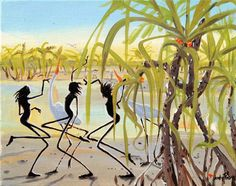 Figurative Australian Painting - Judy Prosser - Fishing at Pandanus Australian Painting, Australian Artists, Aboriginal Painting, Space Gallery, Vincent Van Gogh, Artist Painting, Paintings For Sale, Impressionism, Art Drawings