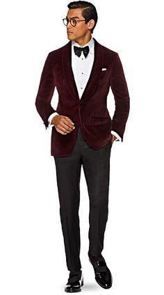 Tuxedo Jacket Burgundy Plain