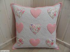 Applique pillow - applique cushion - pachwork cushion - hearts  - free shipping worldwide