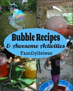 Note: All these bubble recipes get better with time so make them a day or two ahead of time Bubble Solution 1 2 Cups Dawn Dish Detergent 6 cups water 4 tablespoons of glycerin Stir slowly if you make to many bubbles while stirring its harder to get the bubble blowers to work well. Enjoy! …