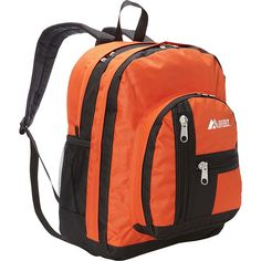 Everest Double Compartment Backpack ($21) ❤ liked on Polyvore featuring bags, backpacks, orange, school & day hiking backpacks, everest bags, everest backpack, mesh backpack, knapsack bags and mesh bag