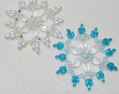 Snowflake 14 Beaded Ornament Pattern by Westtexasjewels on Etsy