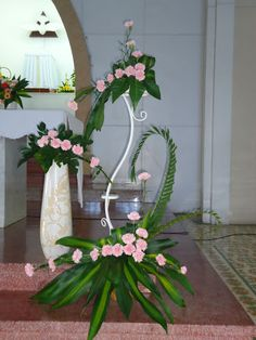 Tropical Flower Arrangements, Modern Floral Arrangements, Church Flower Arrangements, Tropical Flowers, Altar Decorations, Wedding Flower Decorations, Wedding Flowers, Alter Flowers, Church Flowers