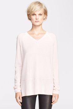 Vince Large Double Trim V-Neck Cashmere Sweater Blush $345 FTC #3663
